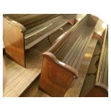 "110"" oak church pew w/ metal hymnal holder on"