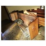 "95"" oak church pew w/wooden book holder on back"