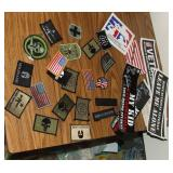 Lot of Velcro Backed Patches and Bumper Stickers