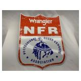 Tin Wrangler NFR Shield Logo Sign