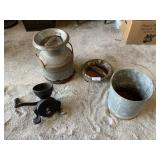 Milk can, galvanized water pale, Gristmill