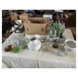 Assorted glassware and soda bottles, vases