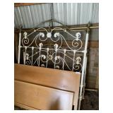 Ornate brass/Iron bed and Kroehler wood bed &