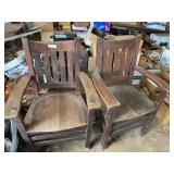 (2) Ornate wooden arm chairs