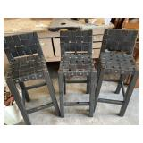 3 leather top bar stools