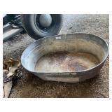 Oval Metal washtub and galvanized bucket