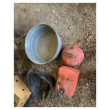 Galvanized wash bucket, 2 gas can, coal bucket