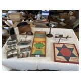 3 vintage viewer with cards games and ornate box