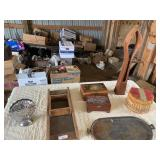 Kraut cutter, iron tray, decorative boxes,