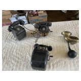 (3) antique telephones and brass horn