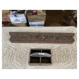 ornate wood carved headpiece & primative tool tray