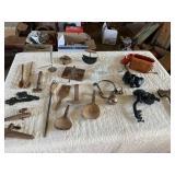 vintage kitchen utensils, perfume bottles, binocul