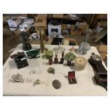 coffee grinder, 2 clocks, glassware, razors,