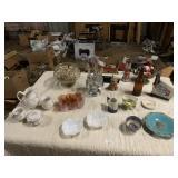 assorted glassware, castor set, porcelain tea set