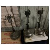 3 coleman gas lights, and vintage wicks