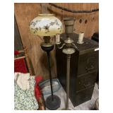 two iron base lamps (shade is cracked)