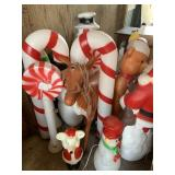 Several Vintage Lighted Christmas Decorations