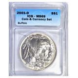 2001-D BUFFALO COMMEM DOLLAR, ICG MS-69