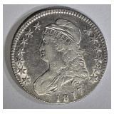 1817 BUST HALF DOLLAR XF, REV. PROBLEMS