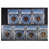7 1968-S LINCOLN CENTS PCGS PR-68 RD