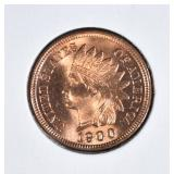 1900 INDIAN HEAD CENT  GEM BU RED