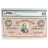 1864 $50 CONFEDERATE STATES OF AMERICA