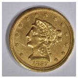 1857-S $2 1/2 GOLD LIBERTY  BU