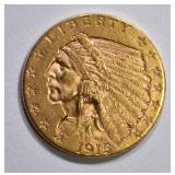 1915 $2 1/2 GOLD INDIAN HEAD  CH BU