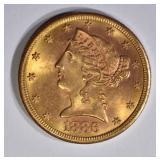 1886-S $5 GOLD LIBERTY  GEM BU
