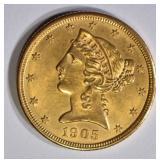1905 $5 GOLD LIBERTY  GEM BU