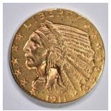 1911-D $5 GOLD INDIAN HEAD  BU
