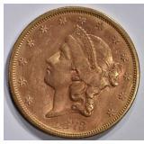1873-S $20 GOLD LIBERTY CLOSED 3  BU