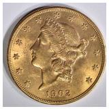 1902 $20 GOLD LIBERTY  CH BU
