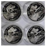 4 1993-W WWII PROOF SILVER DOLLARS