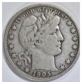 1905-S BARBER HALF DOLLAR  VF