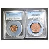 LOT OF 2 PCGS GRADED CENTS: