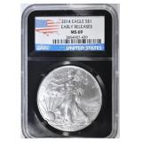 2014 AMERICAN SILVER EAGLE  NGC MS-69
