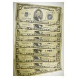 (9) 1934 $5.00 SILVER CERTIFICATES
