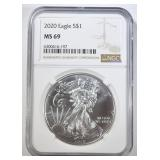 2020 AMERICAN SILVER EAGLE NGC MS-69
