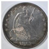 1853 SEATED LIBERTY HALF DOLLAR  CH AU