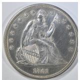 1861 SEATED LIBERTY DOLLAR  CH BU