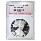 1988-S SILVER EAGLE WHSG PERFECT PR DCAM