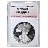 1990-S SILVER EAGLE WHSG PERFECT PR DCAM
