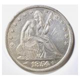 1854 SEATED LIBERTY HALF DOLLAR  AU/BU