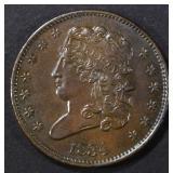 1834 HALF CENT BU LIGHT MARKS REV.