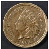 1863 INDIAN CENT AU/BU