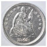1848 SEATED LIBERTY HALF DIME AU