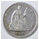 1870 SEATED LIBERTY HALF DIME XF/AU