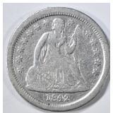 1842-O SEATED LIBERTY DIME VG