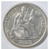 1887 SEATED LIBERTY DIME CH AU